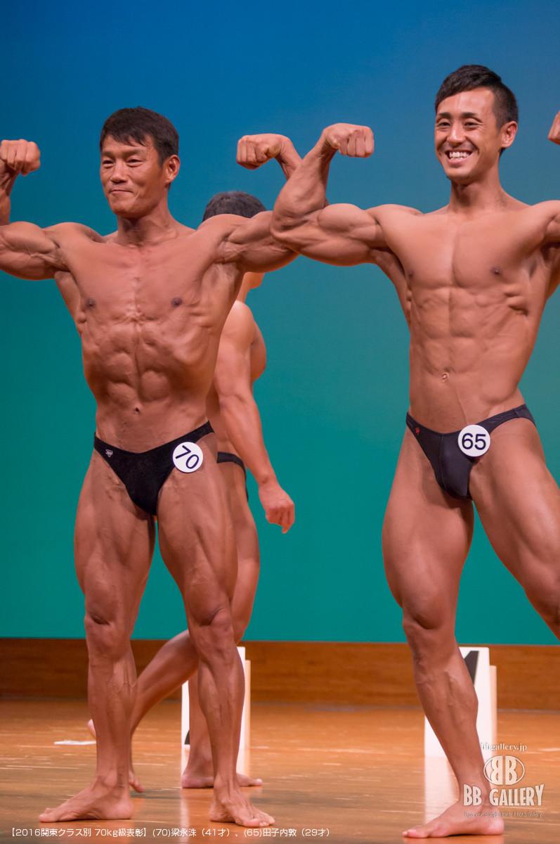【2016関東クラス別 70kg級表彰】(70)梁永洙(41才)、(65)田子内敦(29才)