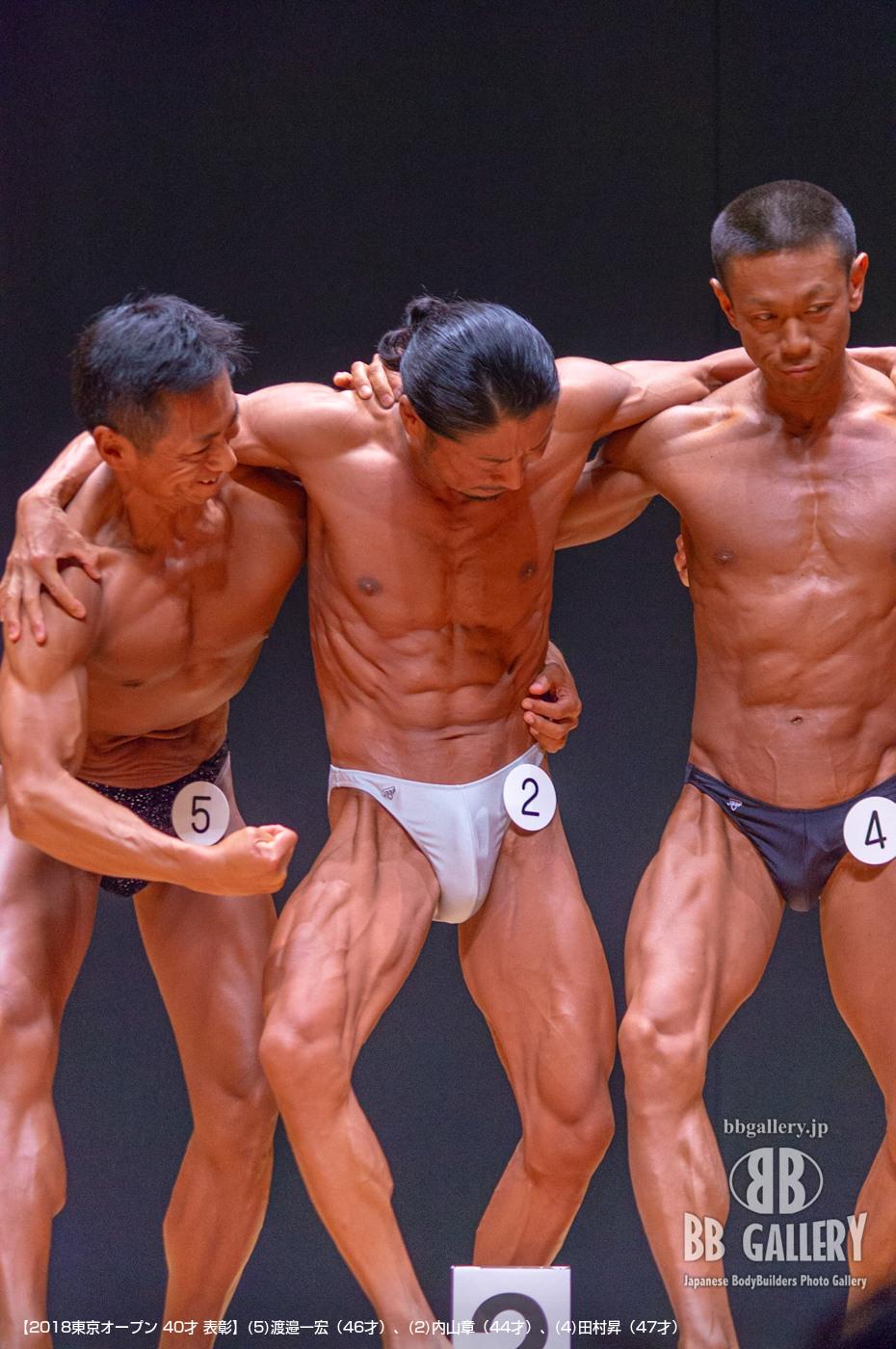 【2018東京オープン 40才 表彰】(5)渡邉一宏(46才)、(2)内山章(44才)、(4)田村昇(47才)