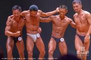 【2018東京オープン 40才 表彰】(5)渡邉一宏(46才)、(2)内山章(44才)、(4)田村昇(47才)、(3)越田専太郎(43才)